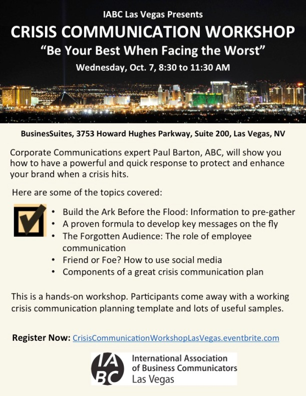 Crisis Communication Workshop in Las Vegas October 7 2015