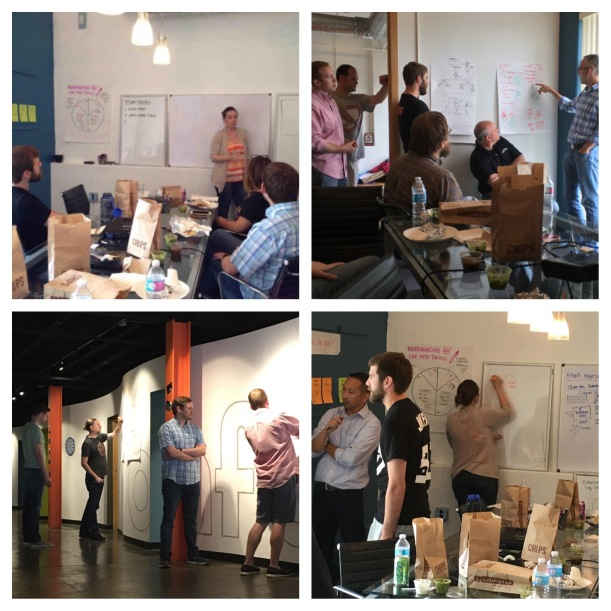 Bonfyre employees collaborate on white-boarding and visual communication during their monthly Lunch and Learn program
