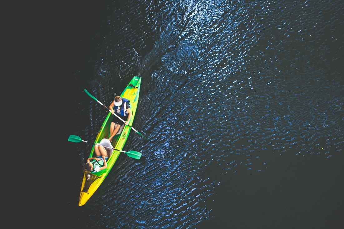 People in a canoe on a river