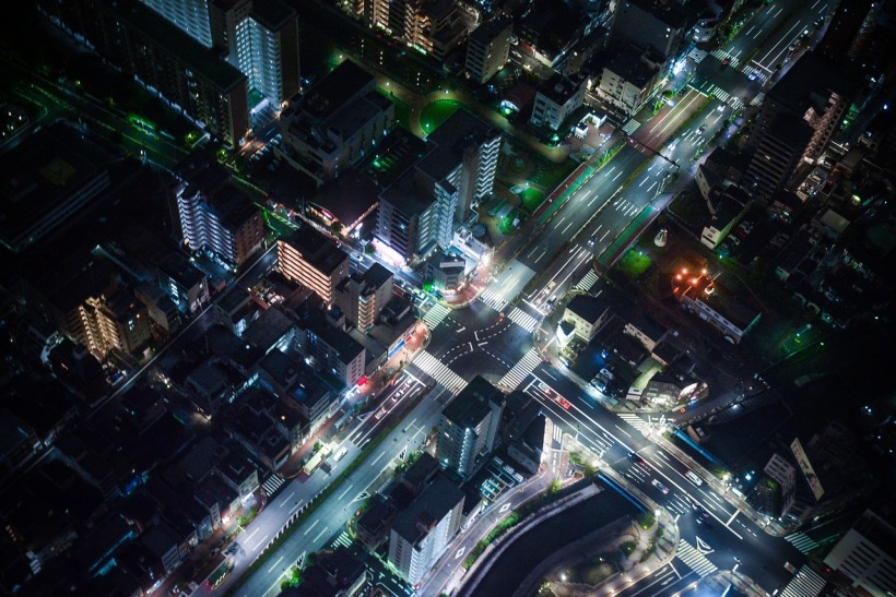 Aerial city at night