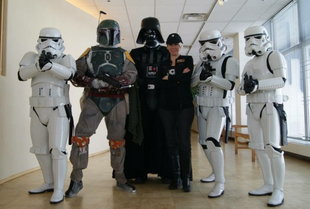 Christine Taylor (next to Darth Vader) creates a fun PopMinded experience for Star Wars fans.